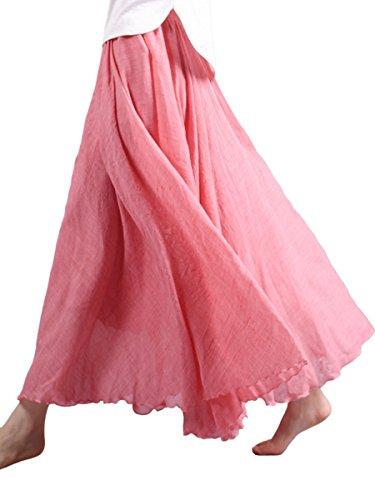 Damen Maxirock Baumwolle Lange Rock Tellerrock Doppelt Schicht Elastischer Bund Damenrock für Freizeit Urlaub Strand - Dunkel Rosa Länge 85cm