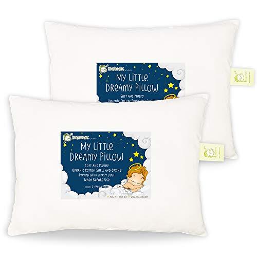 Almohada Blanca Dormir para Niños Pequeños Y Bebés - 2-Pack Almohadas Algodón Orgánico Suave Durmiente - 13x18 Almohada Niños Pequeños - Almohada Infantil Viajes, Escuela, Siesta - Máquina Lavable