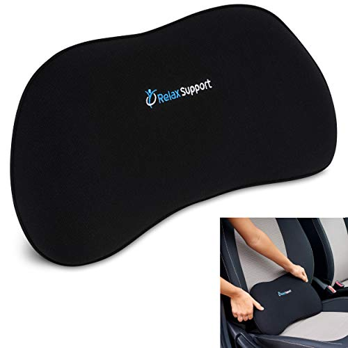 Car Seat Back Support Pillow RS13-S by Relax Support – Lumbar Cushion for Upper and Lower Back Pain Uses Special Patented Technology Has Unique Lateral Convex Orthopedic Shape for a Pain Free Back