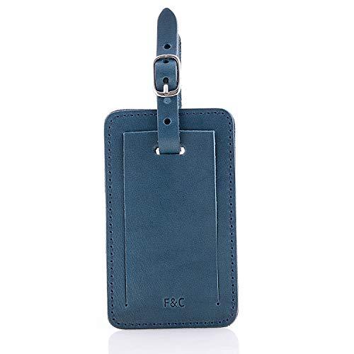 Fine&Candy-Etiqueta Vanity Bright Navy en Cuero 100% Vegetal, Etiquetas de Identificación de Maleta con Compartimento para Información Personal, Tamaño 10.5x6 cm,Color Azul