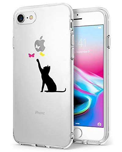 Compatible/Replacement pour iPhone 7,iPhone 8 Coque de Protection Transparente Silicone Antichoc chat noir,Chat Noir