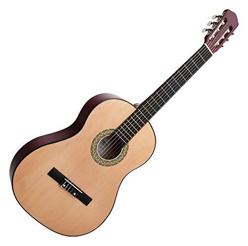 Classic Cantabile AS-851 4/4 Konzertgitarre Natur (Akustikgitarre, geeignet für Kinder im Alter ab 12 Jahren, Bundmarkierung, Nylonsaiten)