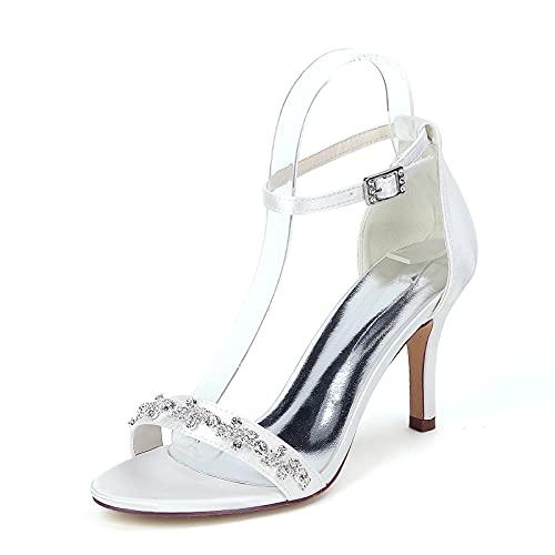 Moda Zapatos de Novia para Mujer, Verano Sexy Pedrería Zapatos de Tacon...