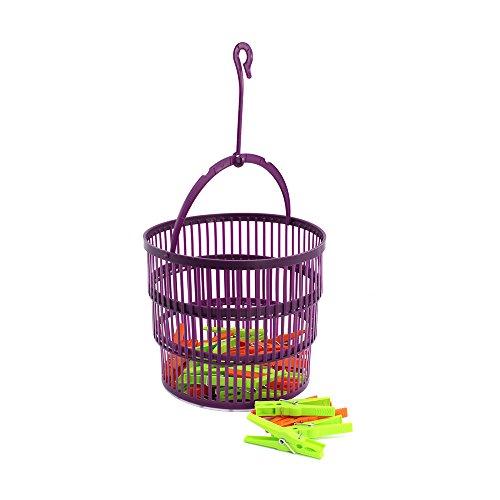 com-four®26-teiliges Set mit Wäscheklammern und Wäscheklammerkorb- Klammern in grün und orange - Korb mitpraktischemAufhänger (Set02-26-teilig)