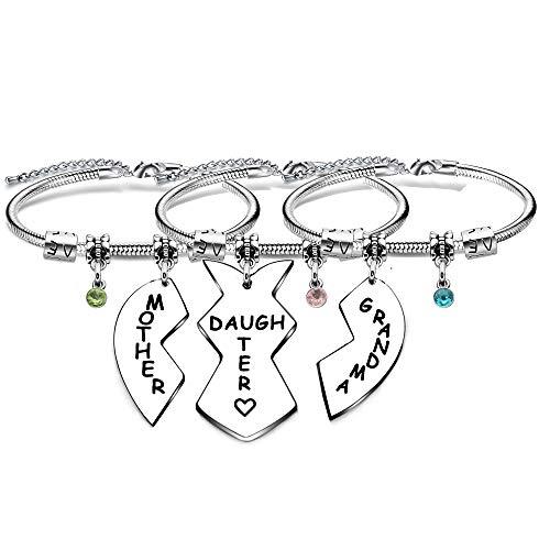 3 pulseras para abuela, madre e hija con forma de corazón y serpiente, brazaletes para abuela, nieta, mamá, Navidad, cumpleaños, día de la madre
