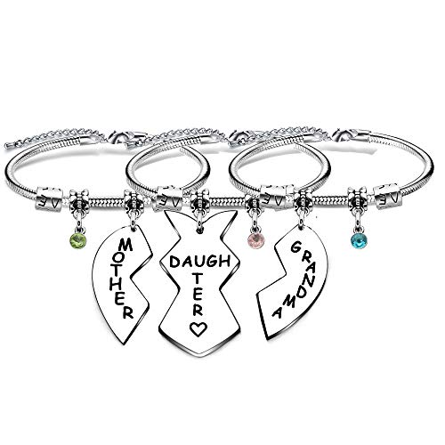 Grandma Mother Daughter Bracelets Bnagles 3Pcs Heart Snake Bracelets Christmas Gifts Birthday Gifts Mother's Day Gifts