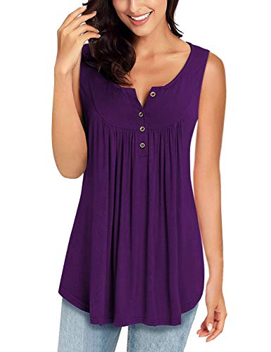 MIROL Womens Spring Sleeveless V Neck Solid Color Casual Swing Shirts Flowy Tank Tops Maternity Blouses with Buttons