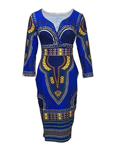 YYH Womens jurk Casual V-hals nationale wind jurken XXXL Blauw