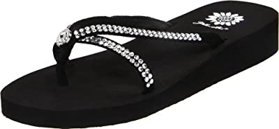 Yellow Box Women's Stormy Flip Flop, Black, 9 M US