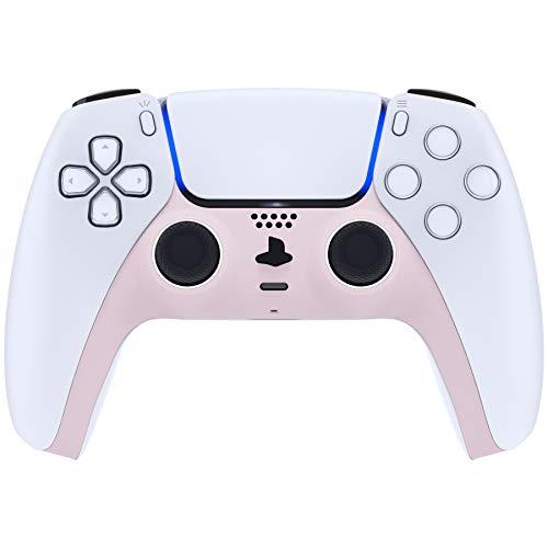 eXtremeRate Abdeckung Kompatibel mit PS5 DualSense 5 Controller,Hülle Case SchutzhülleErsatz Clip Shell Dekorative Abdeckung für Playstation 5 Controller mit Akzentringe(Soft Touch-Sakura Pink)