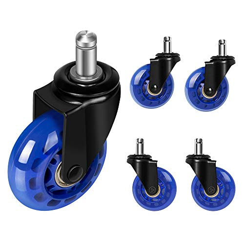 Office chair wheels replacement 2.5'' office chair casters for hardwood floors and carpet, set of 5, heavy duty office chair ball casters for chairs to replace office chair mats - Universal fit (Blue)