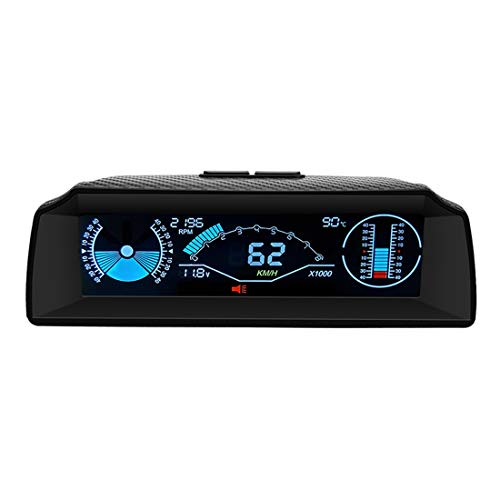 AUTOOL X90OBD Car HUD SpeedometerMPHAngle Gauge Bevel Gaugewith HD LCD Car Head Display for OBDII 12V Car/SUV/RV/Truck/Trailer Off-Road Vehicle