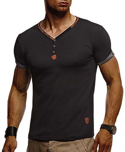 Leif Nelson Herren T-Shirt V-Ausschnitt Sweatshirt Longsleeve Basic Shirt Hoodie Slim Fit LN1390; Größe L, Schwarz