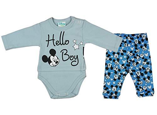 Disney Baby Set für Jungen Mickey Mouse Baumwolle Größe 56 62 68 74 80 86 Outfit Freizeit-Hose Pulli Shirt Langarm-Body 2 teiler Baby Neugeborene Farbe Modell 3, Größe 62