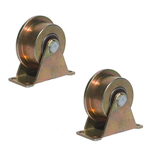 3 pulgadas / 4 pulgadas / 5 pulgadas rueda de vía única polea de riel de acero polea fija tipo de rueda de rodamiento polea de riel de tren polea rueda engrosada rueda de vía lateral única forma de