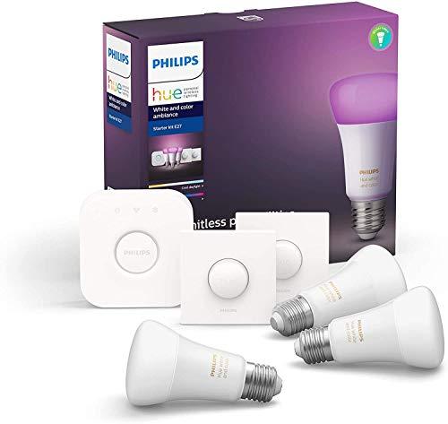 Philips Hue Pack de 3 Bombillas Inteligentes LED E27, con Bluetooth, Puente y 2 Interruptores, Luz Blanca y Color, Compatible con Alexa y Google Home