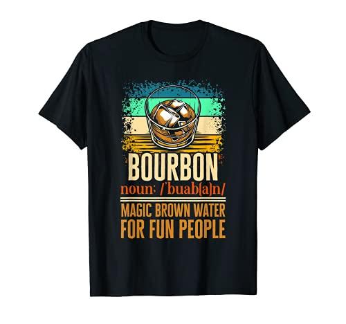 Bourbon Magic Brown Water For Fun People Barra de cristal para whisky Camiseta