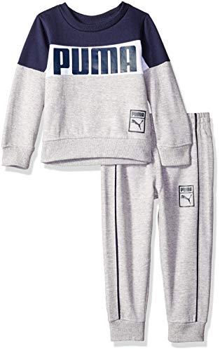 PUMA Toddler Boys' Pullover Fleece Set, Black, 3T