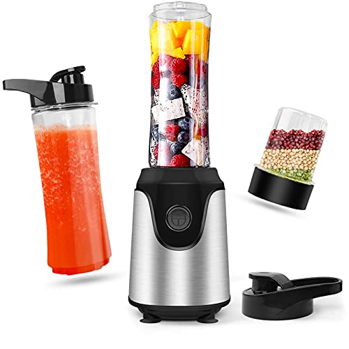 Personal Blender Countertop Smoothies Shakes: Professional Small Vegetable Food Blender Powerful Smoothie Maker Fruit Milkshake Mixer - 2x600ML Portable Travel Juice Cups One Grind Bottle & Kitchen