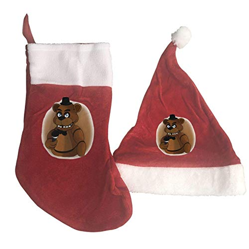 AAAshorts Fre-ddy's - Juego de calcetines y gorro de Navidad con diseño de oso marrón para celebraciones, fiestas, decoración del hogar