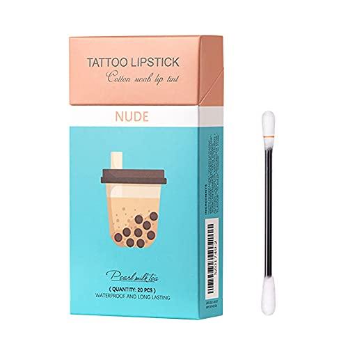 Zigaretten Lippenstift, 20 Stück Tattoo Lippenstift Wattestäbchen, langlebige Lipgloss Wattestäbchen für Damen, matt Wattestäbchen, langlebiger wasserdichter flüssiger...