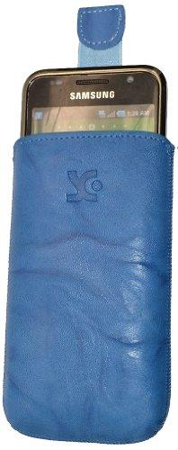 Suncase - Custodia in Vera Pelle per Samsung Galaxy S Advance i9070, Linguetta Estraibile, Colore: Blu Washed