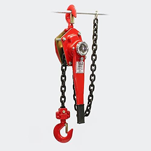 Polipasto manual de cadena 3000kg con cadena 1,5m, elevación de cargas forestales, en...