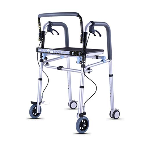 CENPEN Walker Aid Aluminum Lightweight Folding Rollator With Shower Seat/Brakes, Crutches Traction Frame For Elderly/Disabled People
