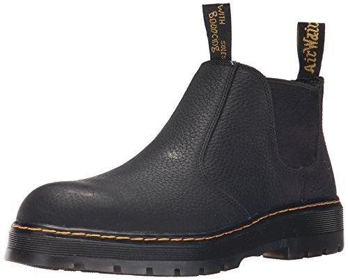 Dr. Martens Men's Rivet Steel Toe Chelsea Boot,Black Pitstop Leather,UK 12 M