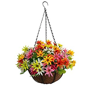 Home Courtyard Decoration Hanging Flowers Basket Artificial Daisy Flowers Multicolor