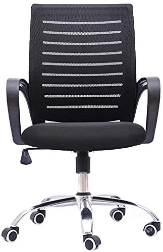 TAIDENG Silla de oficina ergonómica para el hogar, silla de oficina con respaldo alto, silla de escritorio con reposabrazos, silla de ordenador, altura ajustable (color: negro)