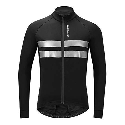 WOSAWE Giacca da Ciclismo per Uomo a Vento Antivento Impermeabile a Maniche Lunghe Abbigliamento Sportivo per Autum Inverno (BL231 Nero L)