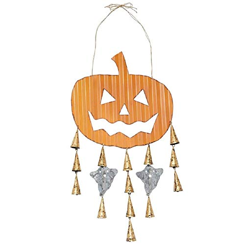 Mud Pie Halloween Pumpkin Tin Door Hanger, 40-inch x 14-inch