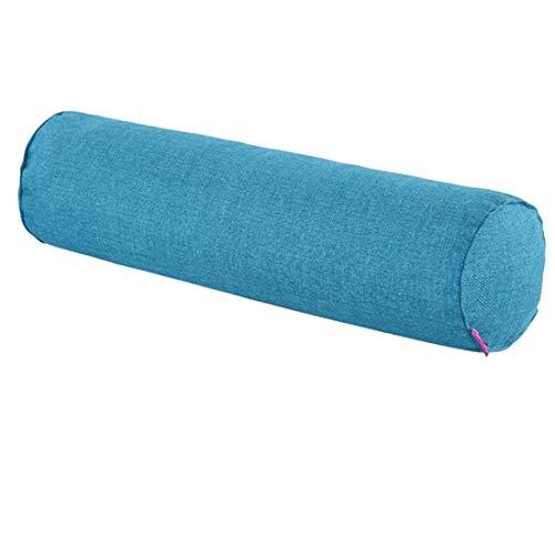 Tongliang - Cuscino cilindrico morbido con federa per orecchie Cervical in cotone e lino, cuscini lunghi multifunzione per collo lombare, piede blu, 60 x 15 cm