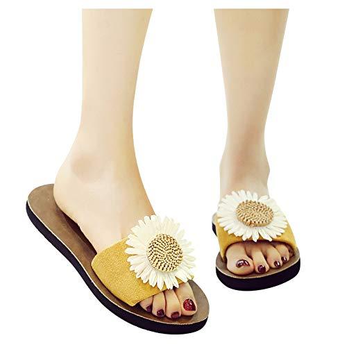 Aniywn Women's Summer Flat Flip Flops Flower Casual Slippers Beach Slides Slippers Open Toe Slippers Sandals