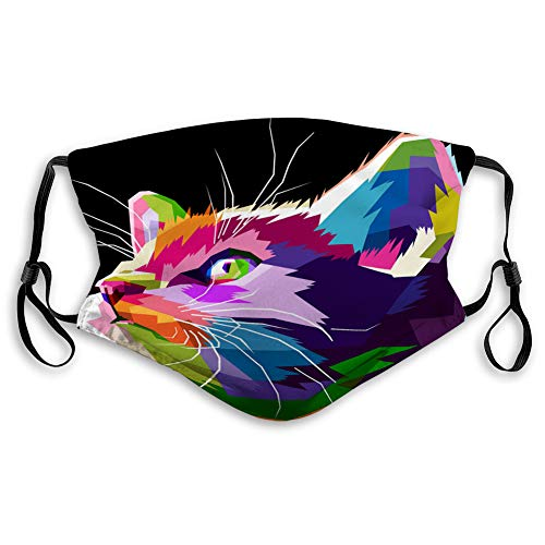Mouth Shield Anti-Dust Shield for Women and Men Close up of cool cat Elastic Cover