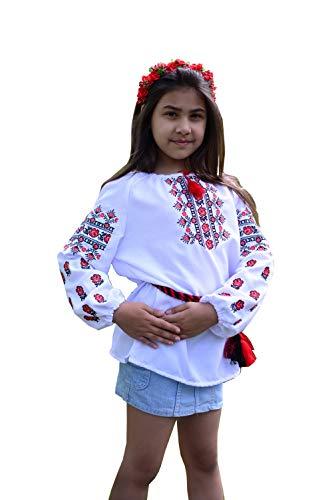 Bestickte ukrainische Folkbluse mit Gürtel für Mädchen Gr. S, weiß