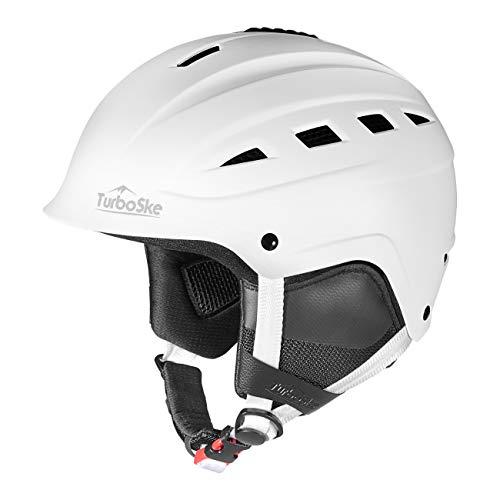 TurboSke Ski Helmet, Snowboard Helmet, Snow Sports Helmet for Men Women and Youth (White, S)