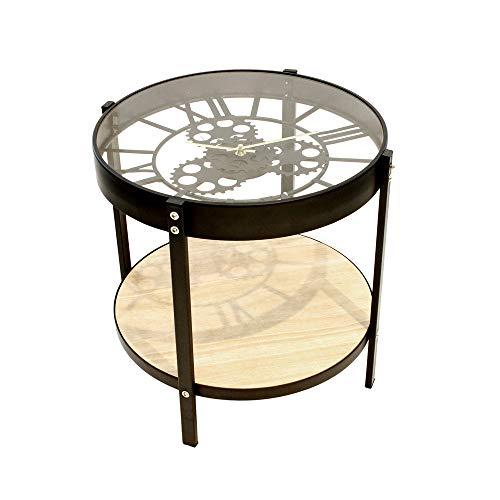 Home Deco Factory HD6446 Table Basse d'Appoint Ronde Horloge Noir Beige et Transparent Métal Bois et Verre Petit Modèle D40,5 x H39 cm
