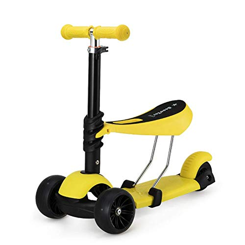 ETTBC Scooters Baby Can Sit with 3 Flash Wheels, Beginner Infant Child Adjustable for Boys/Girls (Color: Amarillo)