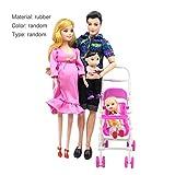 Ballylelly DOLLBABY transport, 5 personnes Poupées Costume enceinte Poupée Famille Maman + Papa + Son bébé + 2 enfants + landau