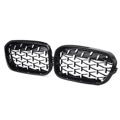WHJDM Parrillas de Carreras, para BMW 1 Serie F20 F21 2015 2016 2017 51137371685,51137371686 Diamond Style Front Spruce Grills Grills,Haft Chrome