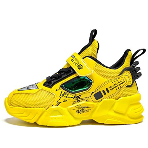 Daclay Zapatos para niños Malla Transpirable Tendencia Moda niños pequeños Deportes Zapatillas Deportivas(35 EU, Yellow)