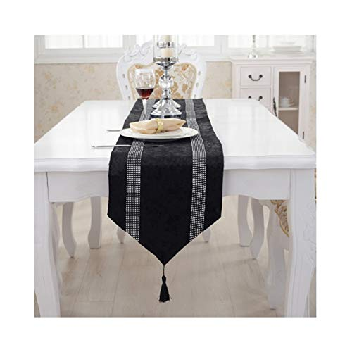 Rubyia Caminos para Mesas, Moda Zirconia Stripes Table Runner para el Hogar y el Jardín Boda Fiesta, Franela, 33 x 180 cm, Negro