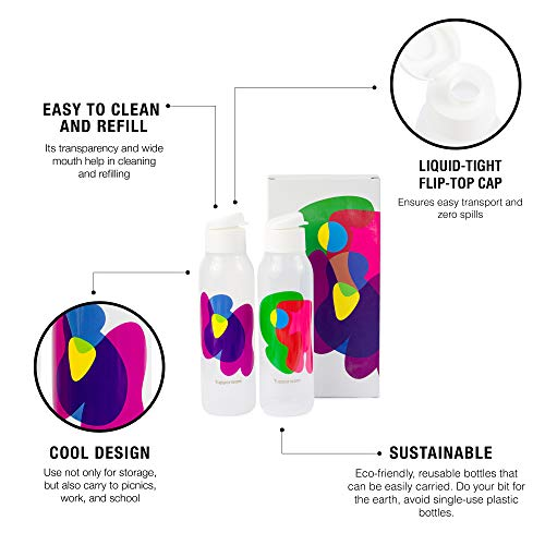 Tupperware Cool n Chic, Bright n Chirpy Plastic Bottle, 750ml, Set of 2, White