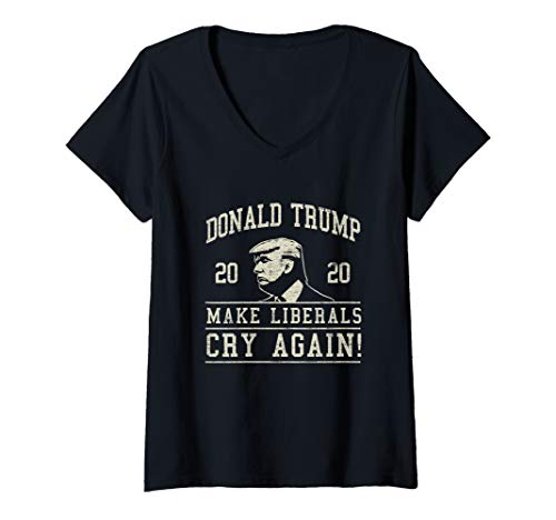Damen Donald Trump Bringt die Liberalen wieder zum Weinen T-Shirt mit V-Ausschnitt