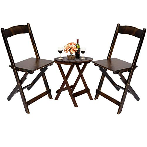 Set of 2 Bamboo Chair - Modern Outdoor Patio Dining Furniture Folding Table Chairs