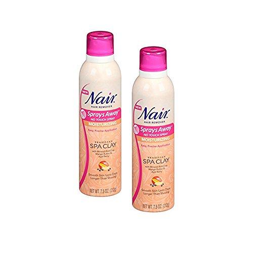 Nair Sprays Away, Brazilian Spa Clay, 7.5 Oz - 2 Pack
