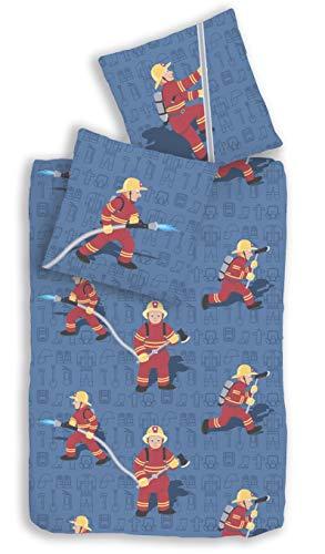 Träumschön Biber Bettwäsche 135x200 Kinder Jungen 2tlg | Feuerwehr Bettwäsche Jungen 135x200 | Für Feuerwehr Kinder | Ideal zum Feuerwehrbett
