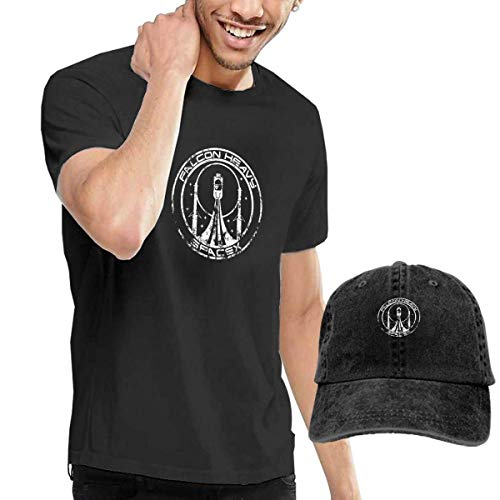 Camiseta de Manga Corta para Hombres Gorra de béisbol Sombrero Falcon Heavy Spacex Mens Short Sleeve T Shirt & Washed Adjustable Baseball Cap Hat